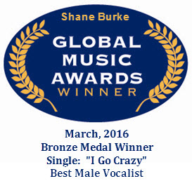 Shane Burke, Singer Songwriter and Winner of Global Music Awards